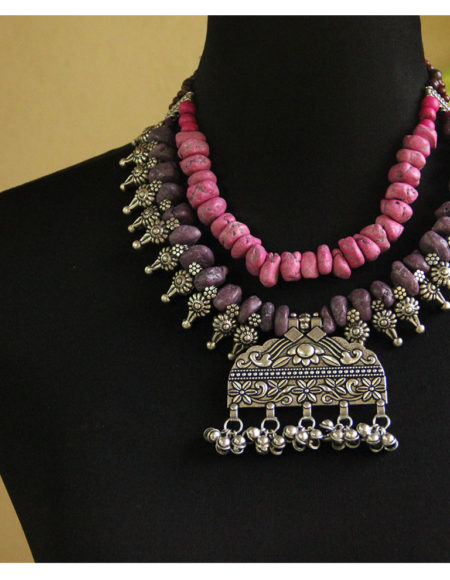 Multi layer ethnic mala pink