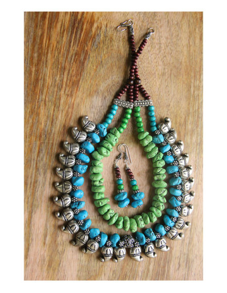 Multi layer ethnic mala blue